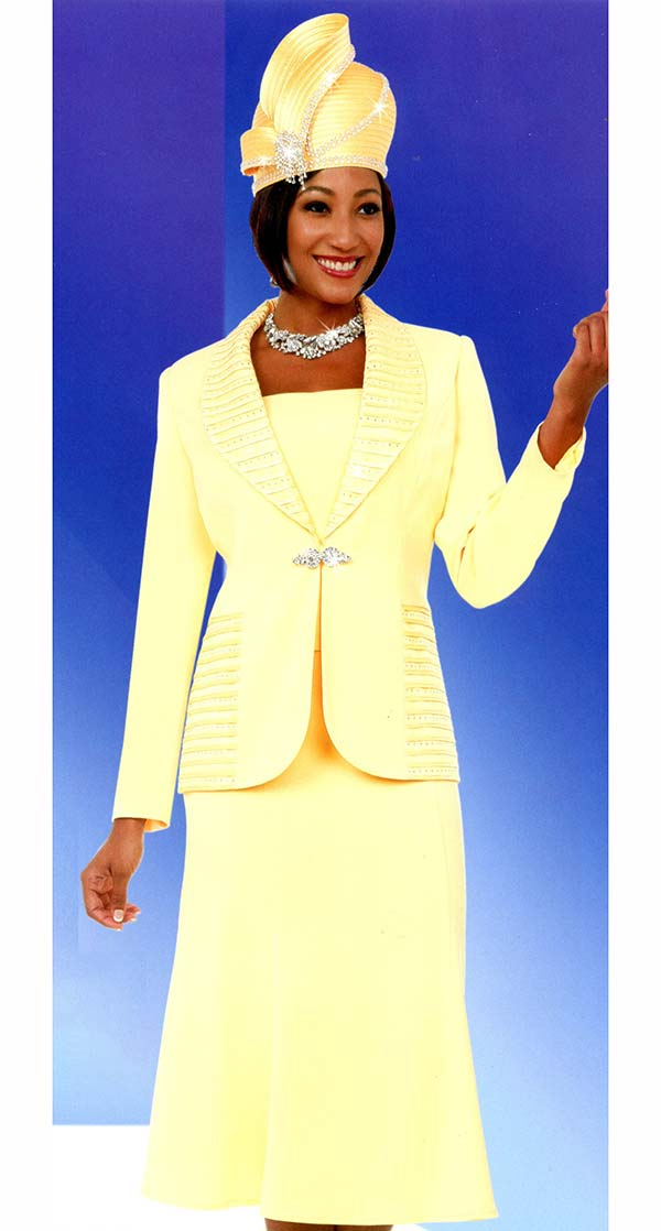 Fifth Sunday 52872-Banana - Ruffled Shawl Lapel Flared Skirt Suit