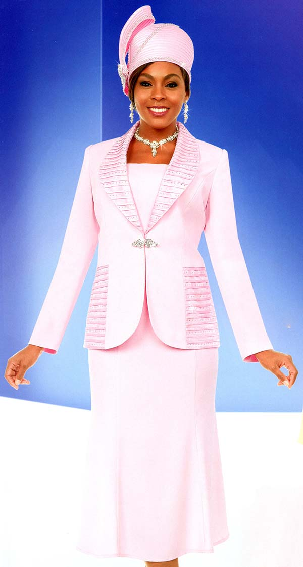 Fifth Sunday 52872-Pink - Ruffled Shawl Lapel Flared Skirt Suit