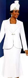 Fifth Sunday 52872-White - Ruffled Shawl Lapel Flared Skirt Suit