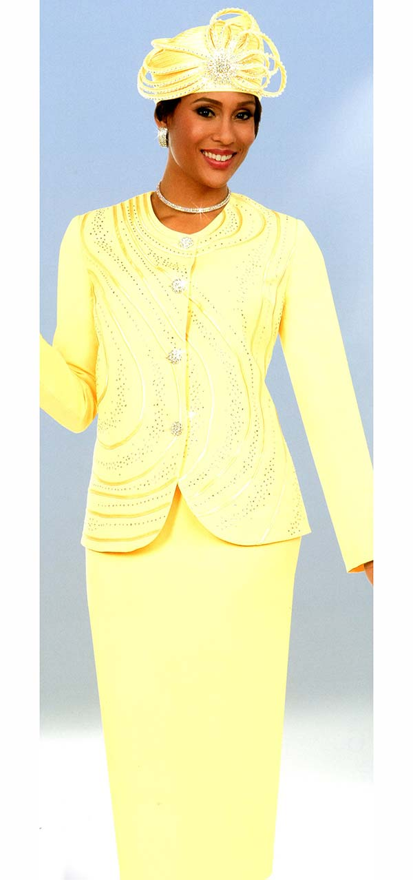 Fifth Sunday 52873-Banana - Embellished Skirt Suit With Piping Design