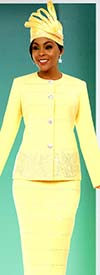 Fifth Sunday 52874-Banana - Embellished Skirt Suit With Triangular Pattern Design