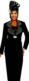 Fifth Sunday 52875-Black - Skirt Suit With Embellished Lapels