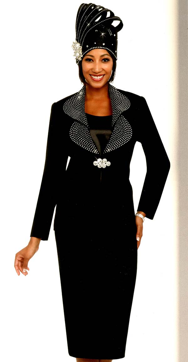 Fifth Sunday 52875-Black - Skirt Suit With Embellished Lapels