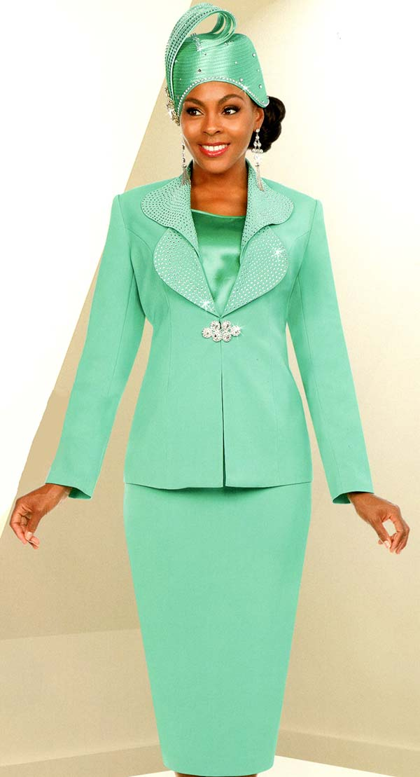 Fifth Sunday 52875-Spearmint - Skirt Suit With Embellished Lapels
