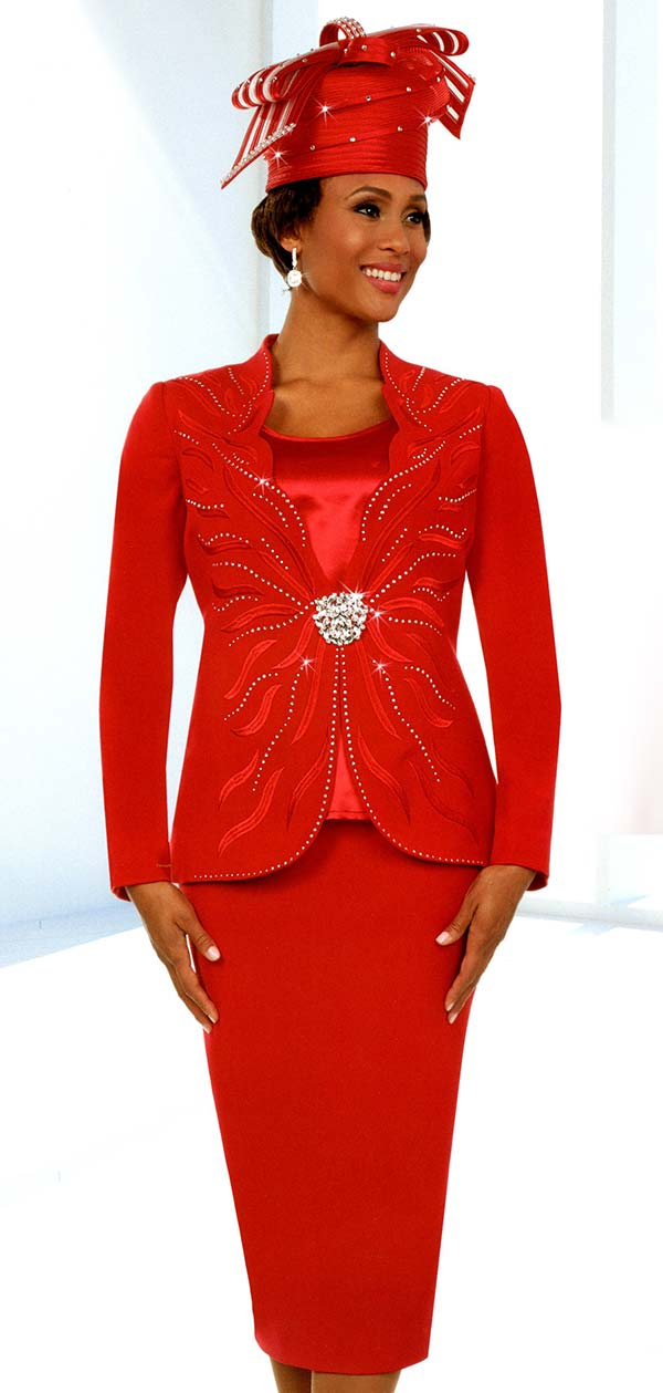 Fifth Sunday 52877-Red - Skirt Suit With Scalloped Neckline Embellished Jacket