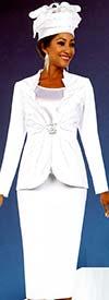 Fifth Sunday 52877-White - Skirt Suit With Scalloped Neckline Embellished Jacket