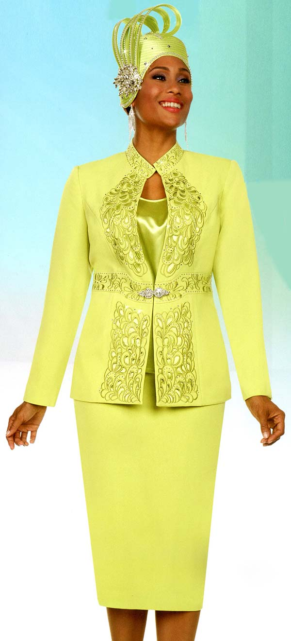Fifth Sunday 52879-Lime - Skirt Suit With Embroidered Stand Up Collar Jacket