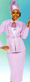 Fifth Sunday 52879-Orchid - Skirt Suit With Embroidered Stand Up Collar Jacket