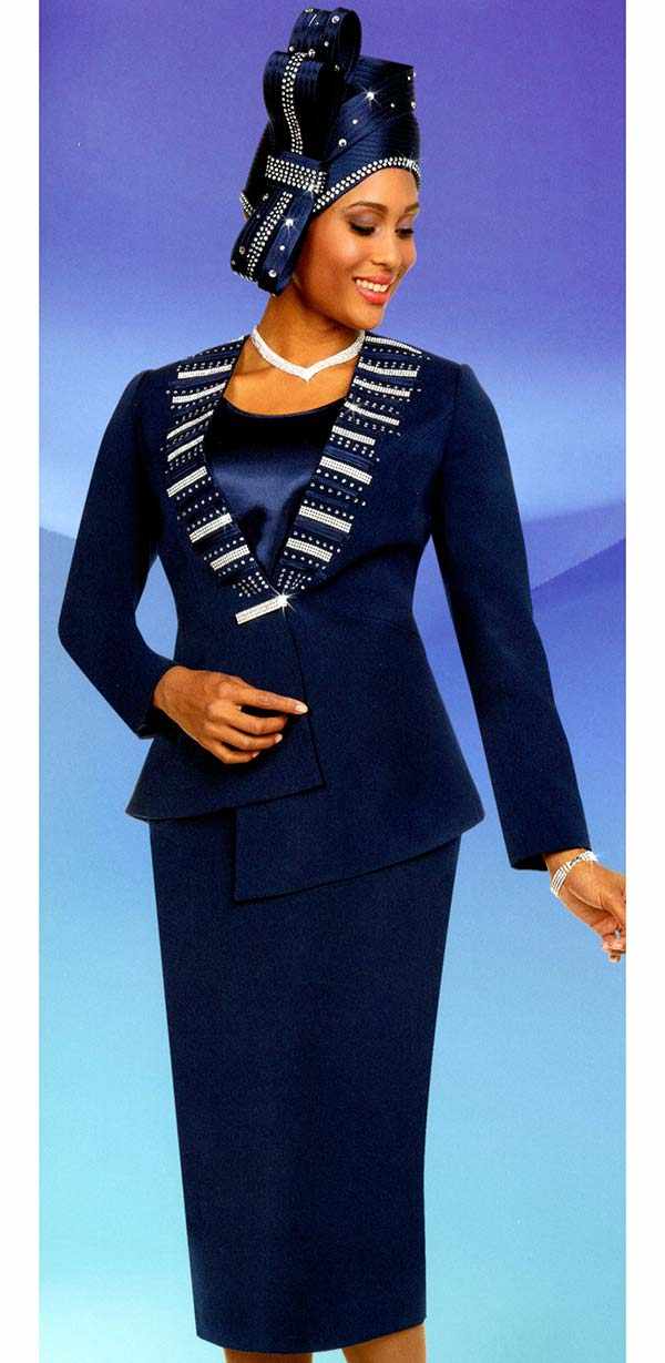 Fifth Sunday 52880-Navy - Skirt Suit With Embellished Asymmetric Style Jacket