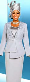 Fifth Sunday 52880-Platinum - Skirt Suit With Embellished Asymmetric Style Jacket