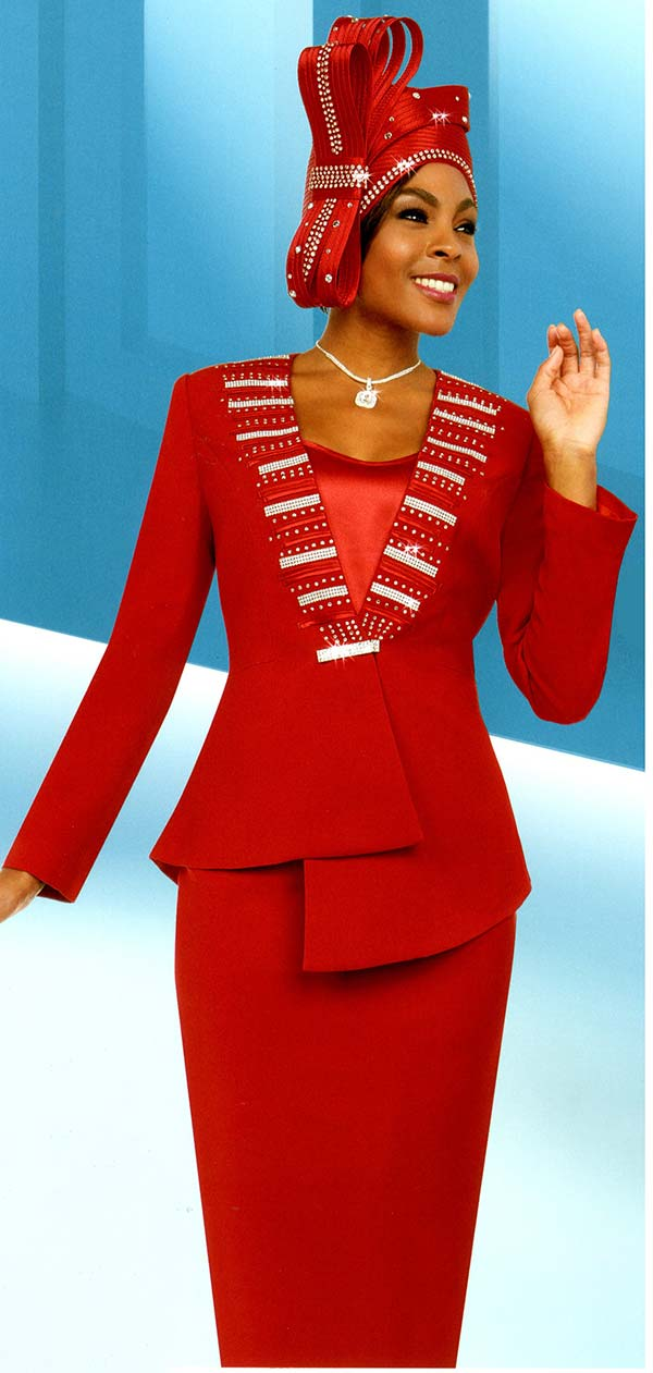 Fifth Sunday 52880-Red - Skirt Suit With Embellished Asymmetric Style Jacket