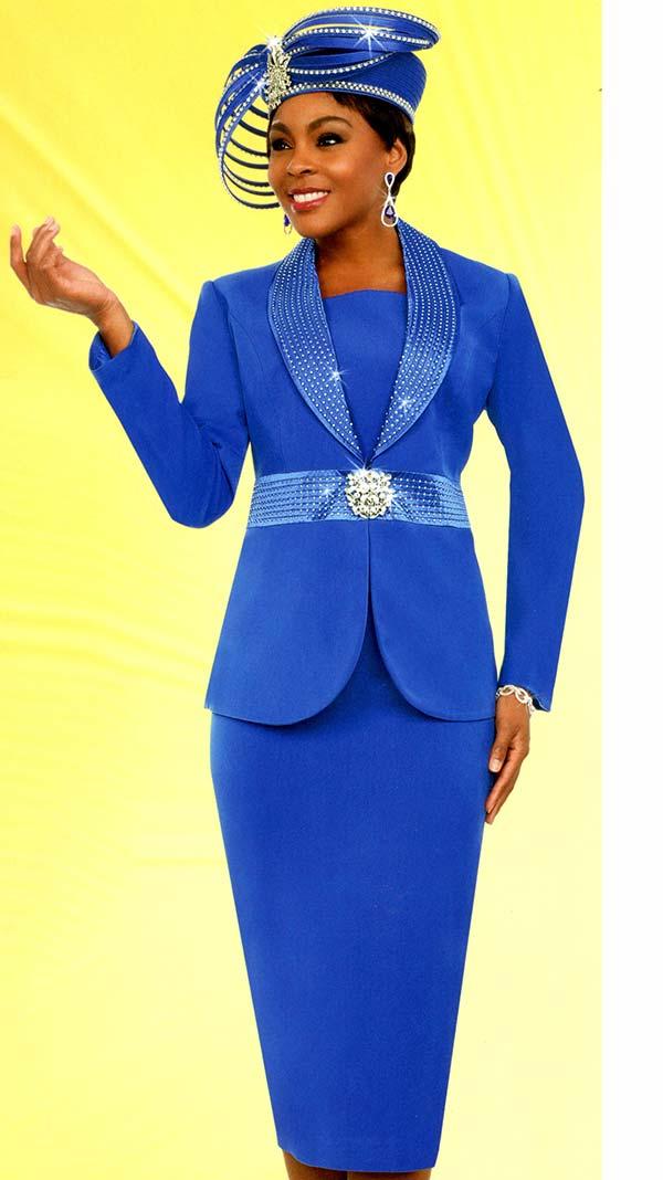 Fifth Sunday 52881-Royal - Skirt Suit With Embellished Shawl Lapel Jacket
