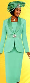 Fifth Sunday 52881-Spearmint - Skirt Suit With Embellished Shawl Lapel Jacket