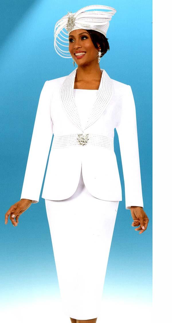 Fifth Sunday 52881-White - Skirt Suit With Embellished Shawl Lapel Jacket