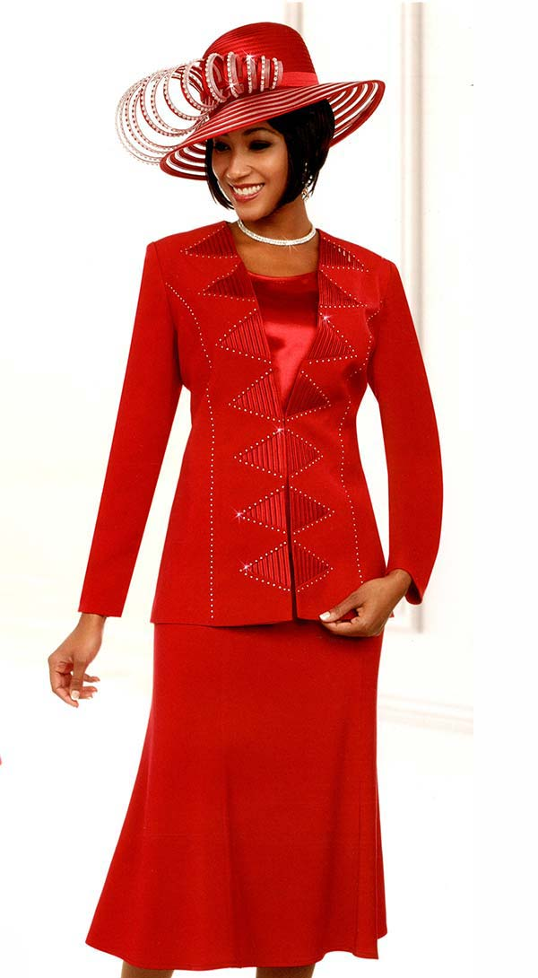 Fifth Sunday 52882-Red - Flared Skirt Suit With Embellished Triangle Pattern Jacket