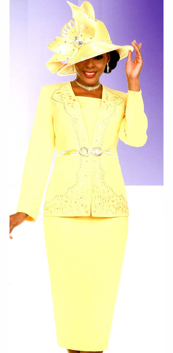 Fifth Sunday 52883-Banana - Skirt Suit With Embellished Intricate Pattern Jacket