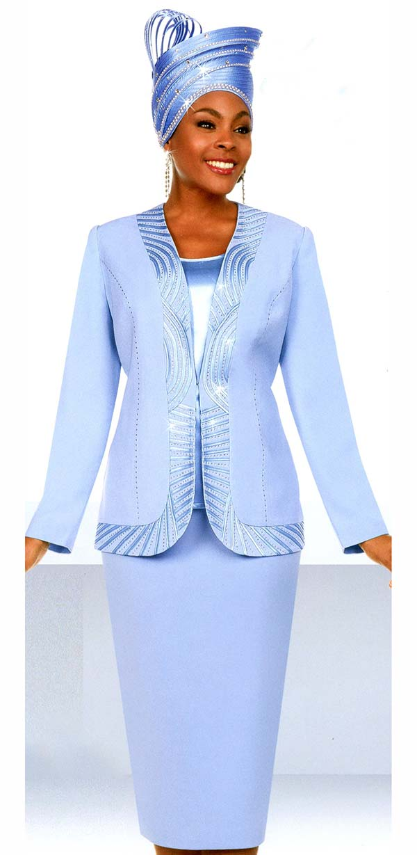 Fifth Sunday 52886-Blue - Womens Skirt Suit With Piping Trim Design