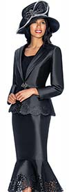 GMI G6643-Black - Flounce Skirt Suit With Cut Out Design Trims