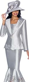GMI G6643-Silver - Womens Flounce Skirt Suit With Cut Out Design Trims