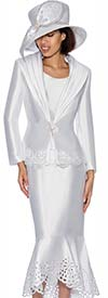 GMI G6643-White - Flounce Skirt Suit With Cut Out Design Trims