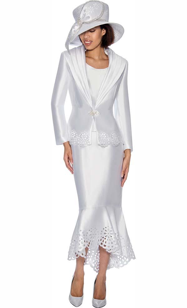 GMI G6643-White - Flounce Skirt Suit With Cut Out Design Trims