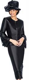 Clearance GMI G6772-Black - Skirt Suit With Peplum Jacket & Floral Trim Design