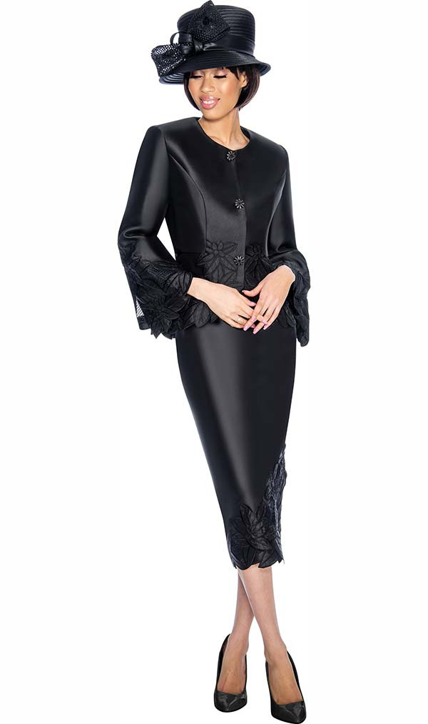 GMI G6772-Black - Skirt Suit With Peplum Jacket & Floral Trim Design