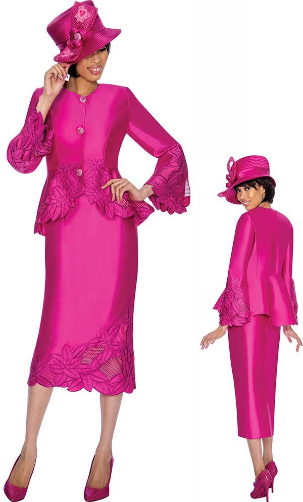 GMI G6772-Fuchsia - Womens Skirt Suit With Peplum Jacket & Floral Trim Design
