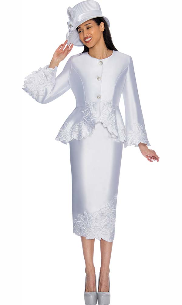 GMI G6772-White - Skirt Suit With Peplum Jacket & Floral Trim Design