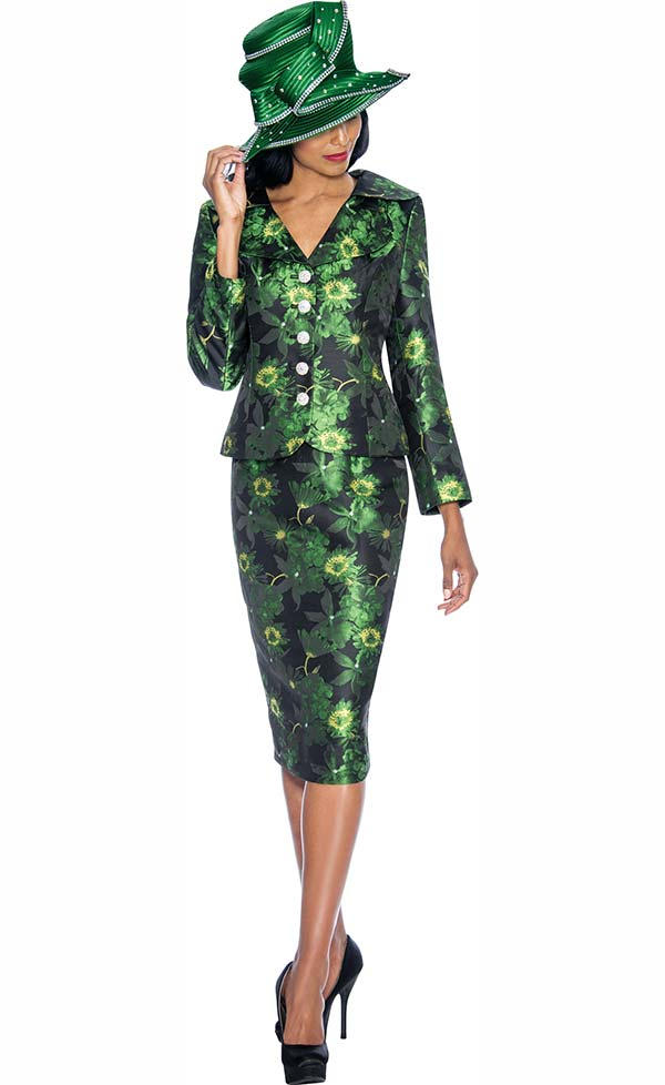 GMI G6892-Emerald - Womens Skirt Suit With Floral Print Design