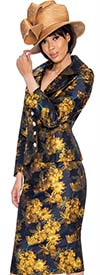 GMI G6892-Gold - Womens Skirt Suit With Floral Print Design