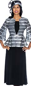 GMI G6903-SilverBlack - Womens Skirt Suit With Peplum Jacket & Striped Design