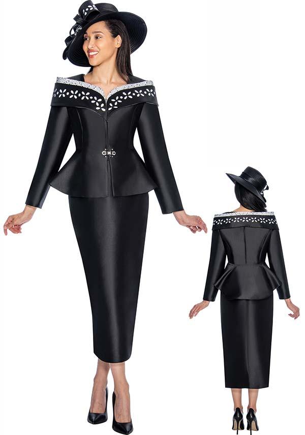 GMI G6912-Black - Skirt Suit With Peplum Jacket & Portrait Collar