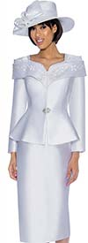 GMI G6912-White - Skirt Suit With Peplum Jacket & Portrait Collar