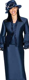 GMI G6923-Navy - Skirt Suit With Lace Trim Jacket & Double Bell Cuff Sleeves
