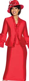 GMI G6923-Red - Skirt Suit With Lace Trim Jacket & Double Bell Cuff Sleeves