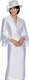 GMI G6923-White - Skirt Suit With Lace Trim Jacket & Double Bell Cuff Sleeves
