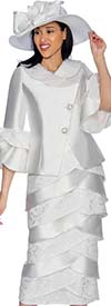GMI G6932-White - Layered Tulip Skirt Suit With Bell Sleeve Cuffs