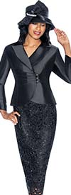 GMI G6942-Black - Church Suit With Lace Skirt Design