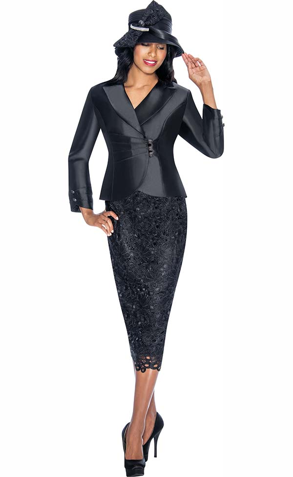 GMI G6942-Black - Church Suit With Lace Skirt Design