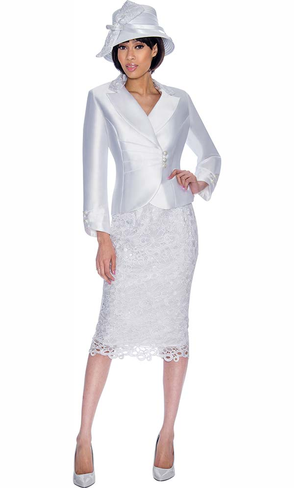 GMI G6942-White - Church Suit With Lace Skirt Design