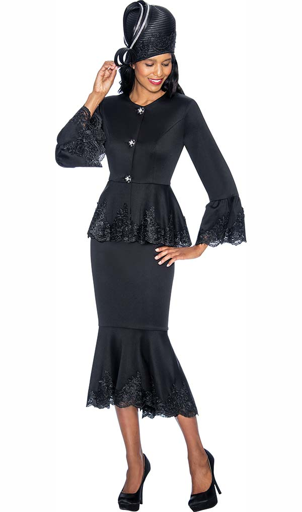 GMI G6952-Black - Church Suit With Lace Trimmed Flounce Skirt & Cuffs