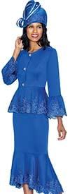 GMI G6952-Royal - Church Suit With Lace Trimmed Flounce Skirt & Cuffs