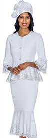 GMI G6952-White - Church Suit With Lace Trimmed Flounce Skirt & Cuffs