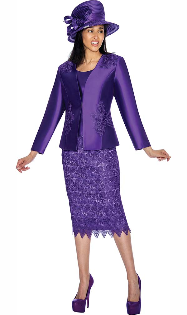 GMI G6963-Purple - Church Suit With Lace Skirt & Detailed Jacket