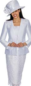 GMI G6963-White - Church Suit With Lace Skirt & Detailed Jacket