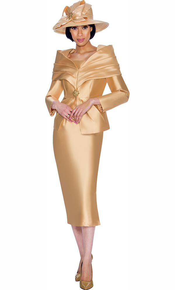 GMI G6982-Champagne - Church Suit With Layered Off The Shoulder Portrait Collar