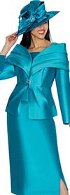 GMI G6982-Teal - Church Suit With Layered Off The Shoulder Portrait Collar