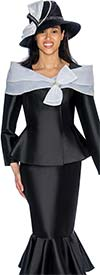 GMI G6992-Black - Flounce Skirt Suit With Peplum Jacket & Portrait Collar