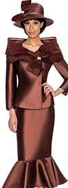 GMI G6992-Brown - Flounce Skirt Suit With Peplum Jacket & Portrait Collar